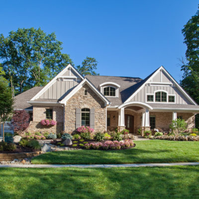 Cincinnati cottage style custom home exterior with landscaping