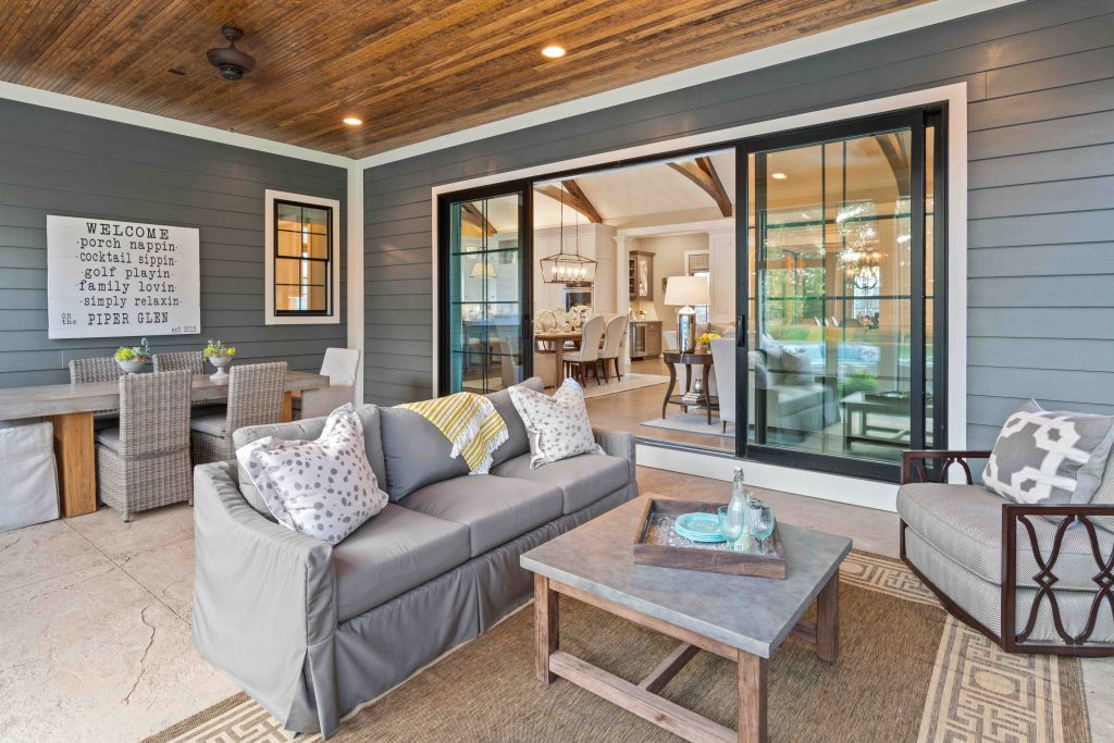 Back porch with large sliding glass door