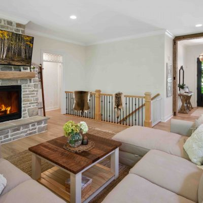 fireplace and stairwell